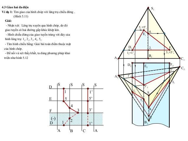 4.3 Giao hai đa diện Ví dụ 1: Tìm giao của hình chóp với lăng trụ chiếu đứng . (Hình 5.11) Giải: - Nhận xét: Lăng trụ xuyê...