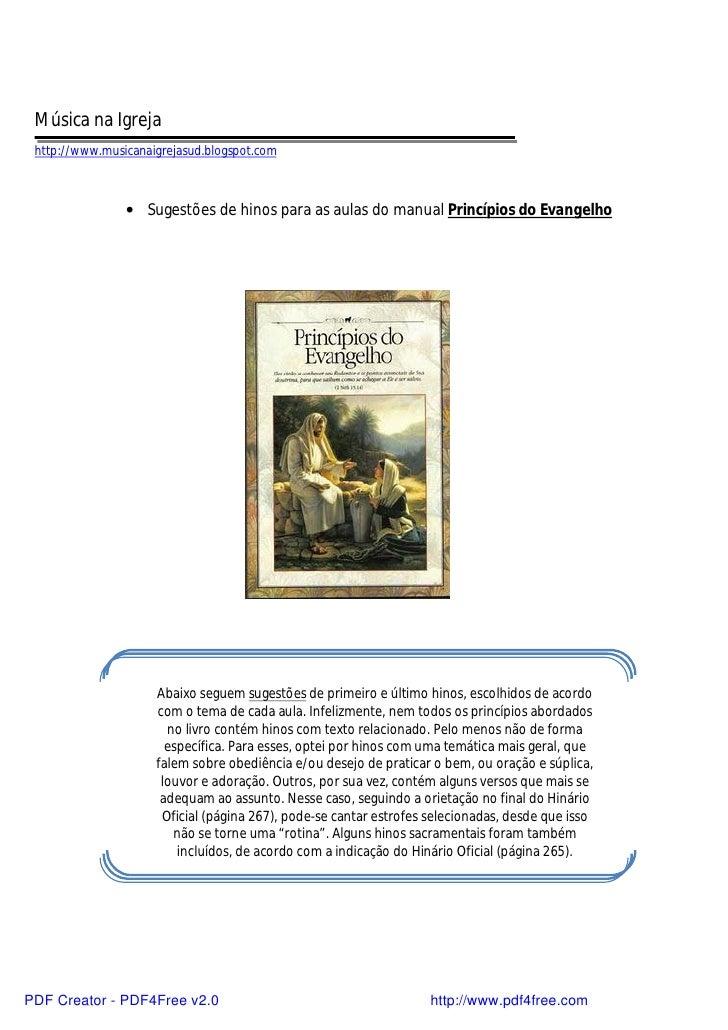 Música na Igreja  http://www.musicanaigrejasud.blogspot.com                    • Sugestões de hinos para as aulas do manua...