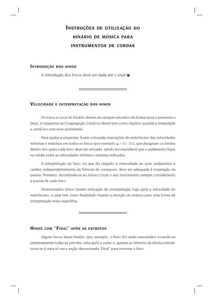 INSTRUÇÕES          DE UTILIZAÇÃO DO                          HINÁRIO DE MÚSICA PARA                         INSTRUMENTOS ...