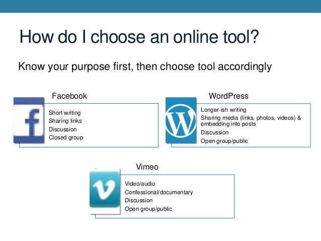 How do I choose an online tool? Know your purpose first, then choose tool accordingly Facebook  WordPress Longer-ish writi...