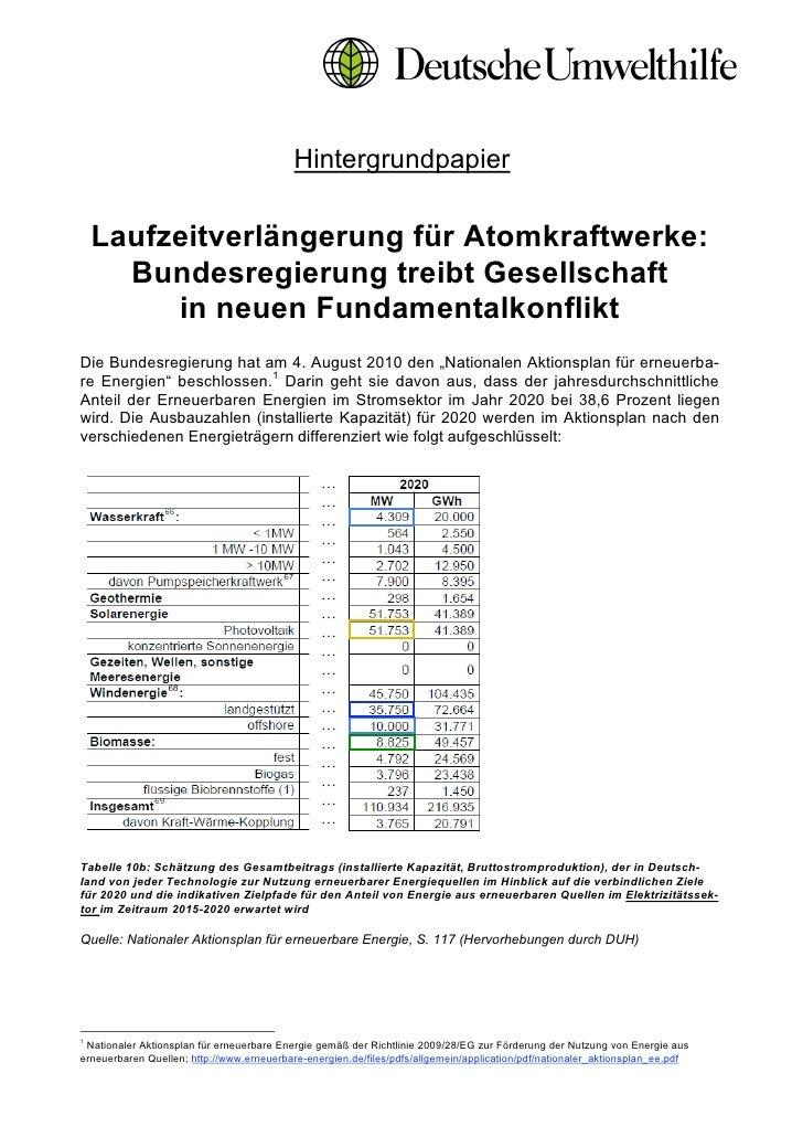 Hintergrundpapier    Laufzeitverlängerung für Atomkraftwerke:      Bundesregierung treibt Gesellschaft         in neuen Fu...