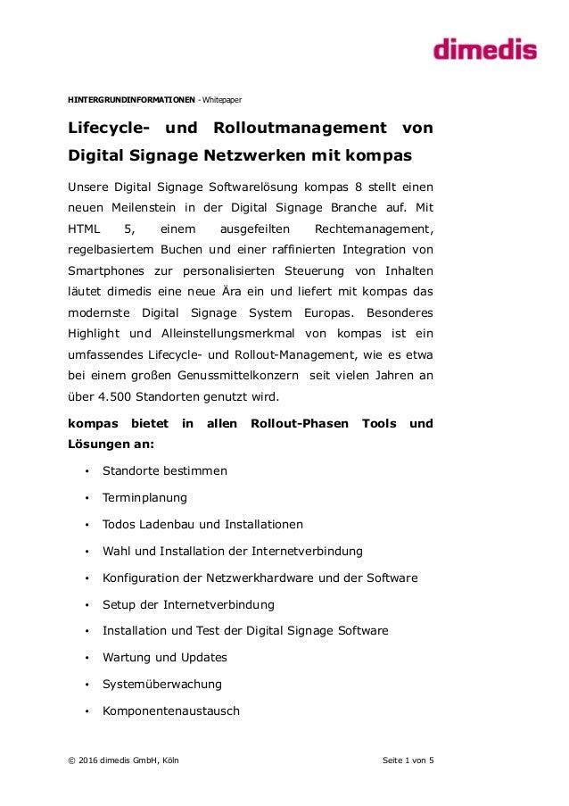 HINTERGRUNDINFORMATIONEN - Whitepaper Lifecycle- und Rolloutmanagement von Digital Signage Netzwerken mit kompas Unsere Di...
