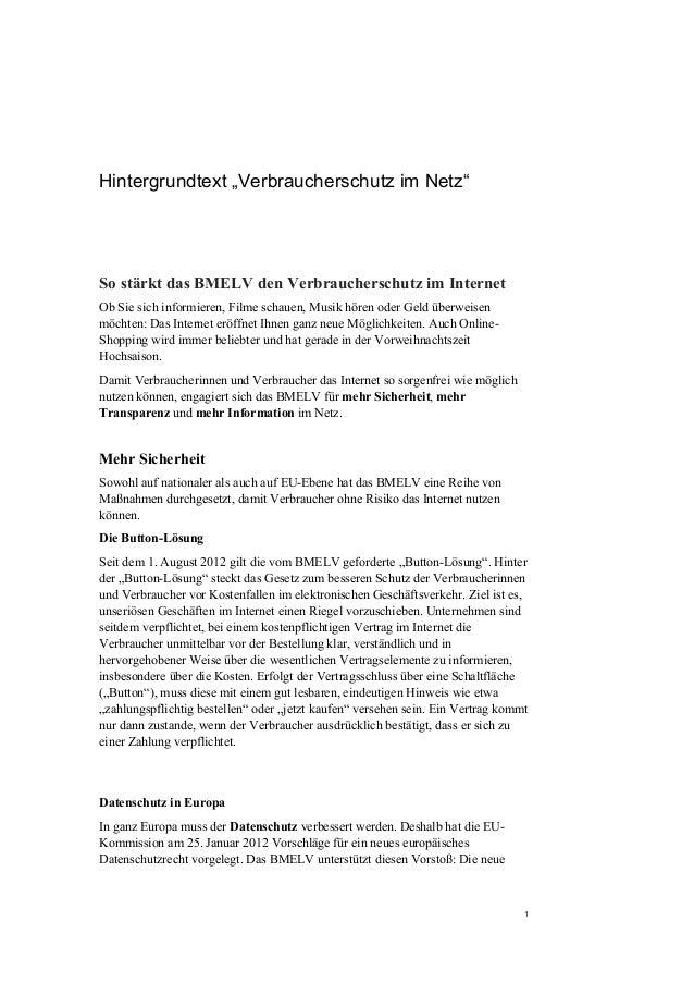 """Hintergrundtext """"Verbraucherschutz im Netz""""So stärkt das BMELV den Verbraucherschutz im InternetOb Sie sich informieren, F..."""