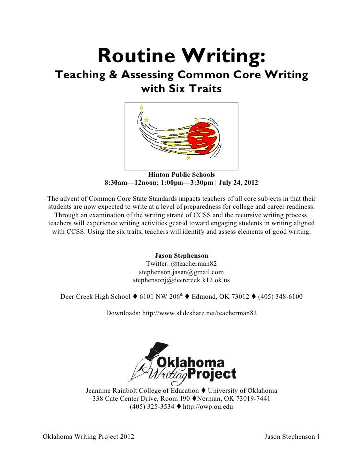 Routine Writing:   Teaching & Assessing Common Core Writing                 with Six Traits                               ...