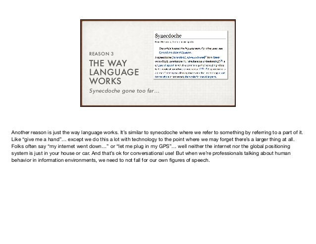 THE WAY LANGUAGE WORKS REASON 3 Synecdoche gone too far… Another reason is just the way language works. It's similar to sy...