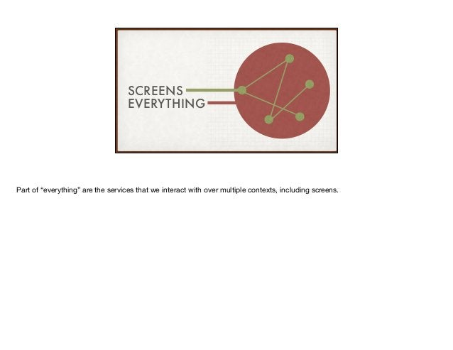 """SCREENS EVERYTHING Part of """"everything"""" are the services that we interact with over multiple contexts, including screens."""