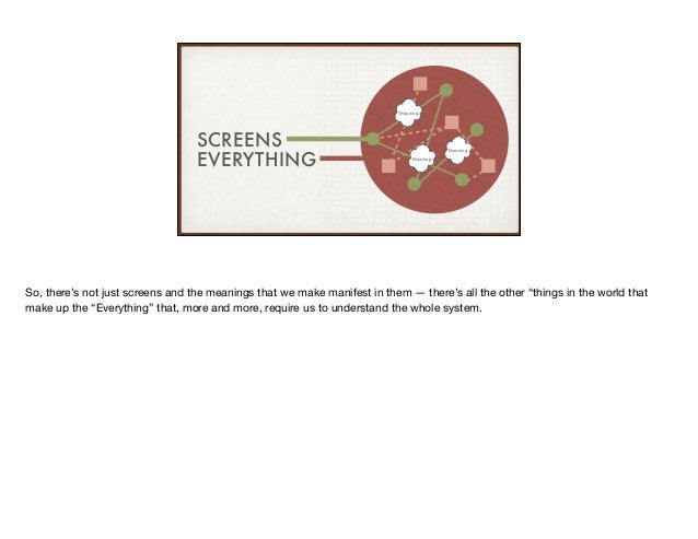 SCREENS EVERYTHING Meaning Meaning Meaning So, there's not just screens and the meanings that we make manifest in them — t...