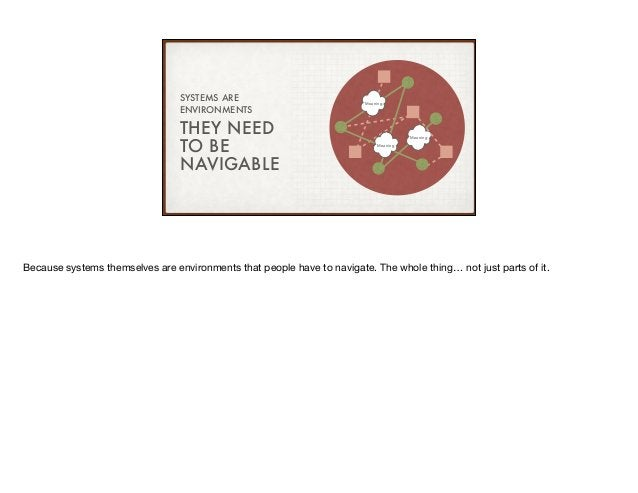 THEY NEED TO BE NAVIGABLE SYSTEMS ARE ENVIRONMENTS Meaning Meaning Meaning Because systems themselves are environments tha...