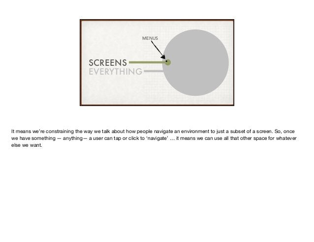 SCREENS EVERYTHING MENUS It means we're constraining the way we talk about how people navigate an environment to just a su...