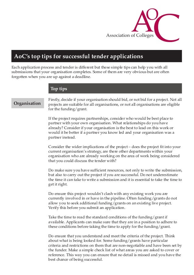 AoC's top tips for successful tender applications Each application process and tender is different but these simple tips c...