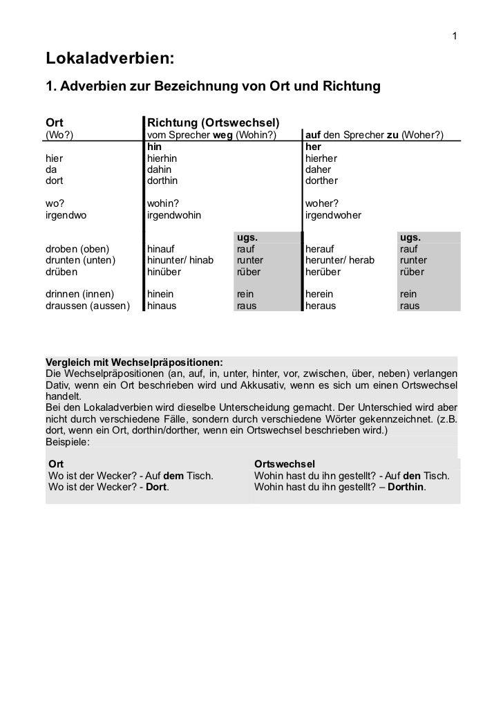1Lokaladverbien:1. Adverbien zur Bezeichnung von Ort und RichtungOrt                   Richtung (Ortswechsel)(Wo?)        ...
