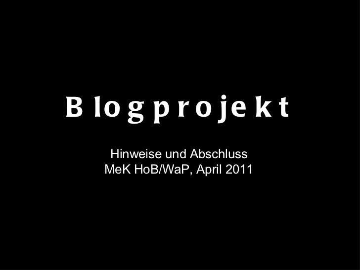 Blogprojekt Hinweise und Abschluss MeK HoB/WaP, April 2011