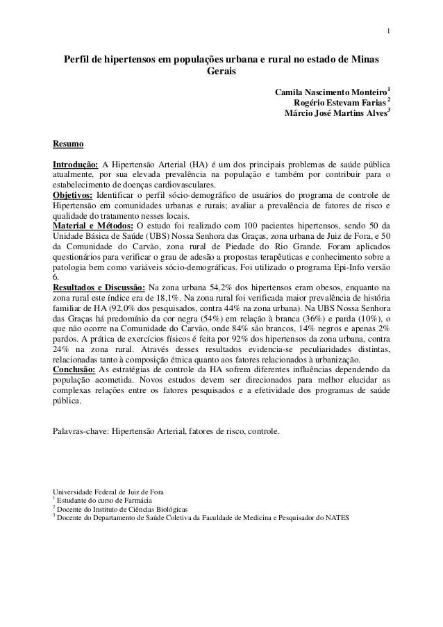 1  Perfil de hipertensos em populações urbana e rural no estado de Minas  Gerais  Camila Nascimento Monteiro1  Rogério Est...
