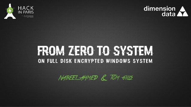 from zero to system Nabeel ahmed & tom gilis on full disk encrypted windows system