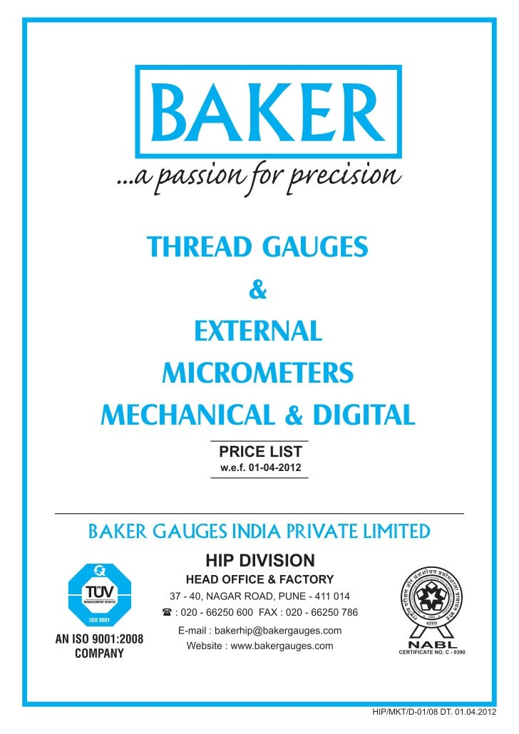 Baker PriceList 2012