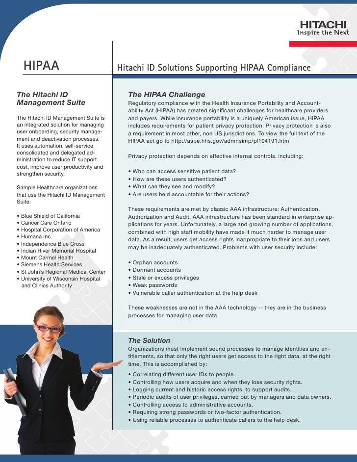HIPAA                               Hitachi ID Solutions Supporting HIPAA ComplianceThe Hitachi ID                        ...