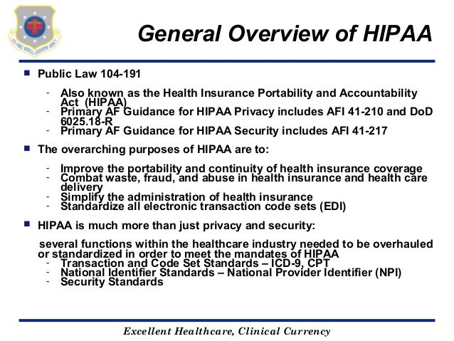 hipaacurrency; 3 general overview of hipaa  public law