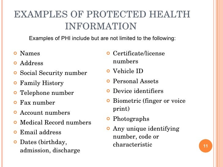 hipaa-audio-presentation-11-728 Visual Protected Health Information Examples on information technology examples, protected patient information clip art, target market examples,