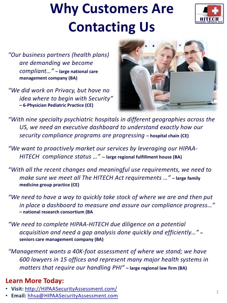 "Why Customers Are                       Contacting Us ""Our business partners (health plans)    are demanding we become    ..."