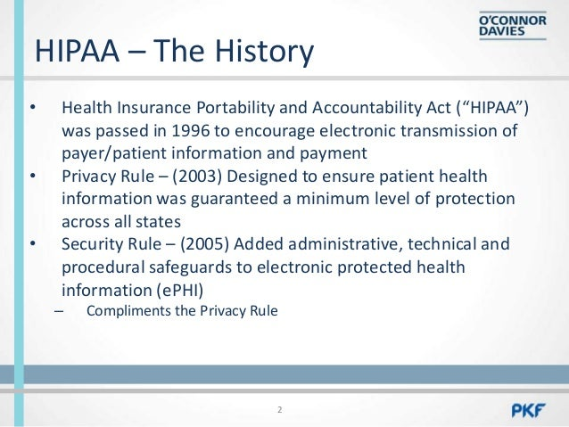 hipaa history essay A timeline hipaa history the health insurance portability and accountability act (hipaa) was enacted by congress in 1996 in response to several issues facing health care coverage, privacy.