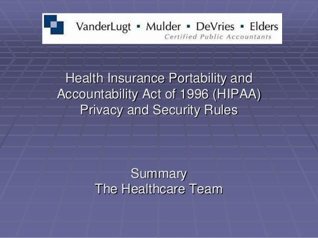 Health Insurance Portability andAccountability Act of 1996 (HIPAA)   Privacy and Security Rules           Summary      The...