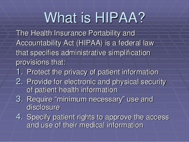 HIPAA Summary for Training