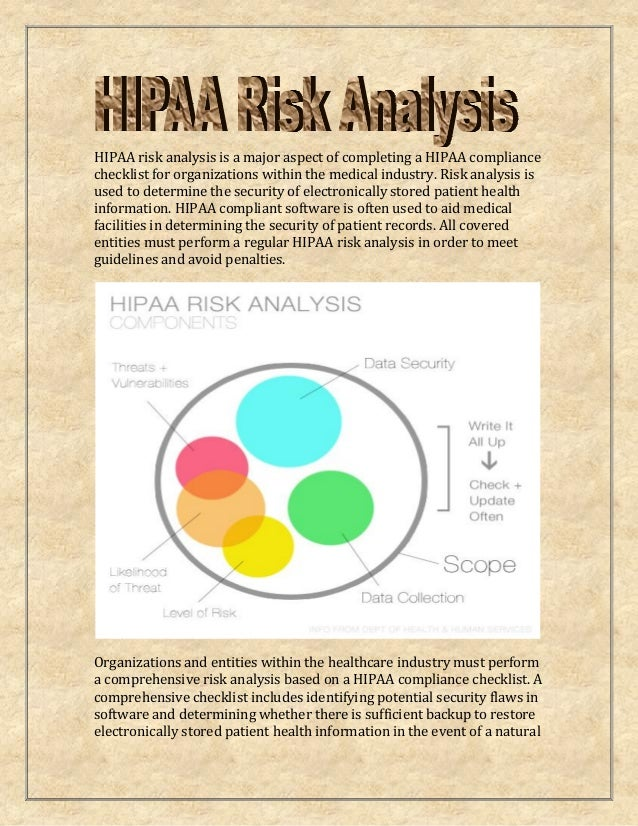 HIPAA risk analysis is a major aspect of completing a HIPAA compliance checklist for organizations within the medical indu...