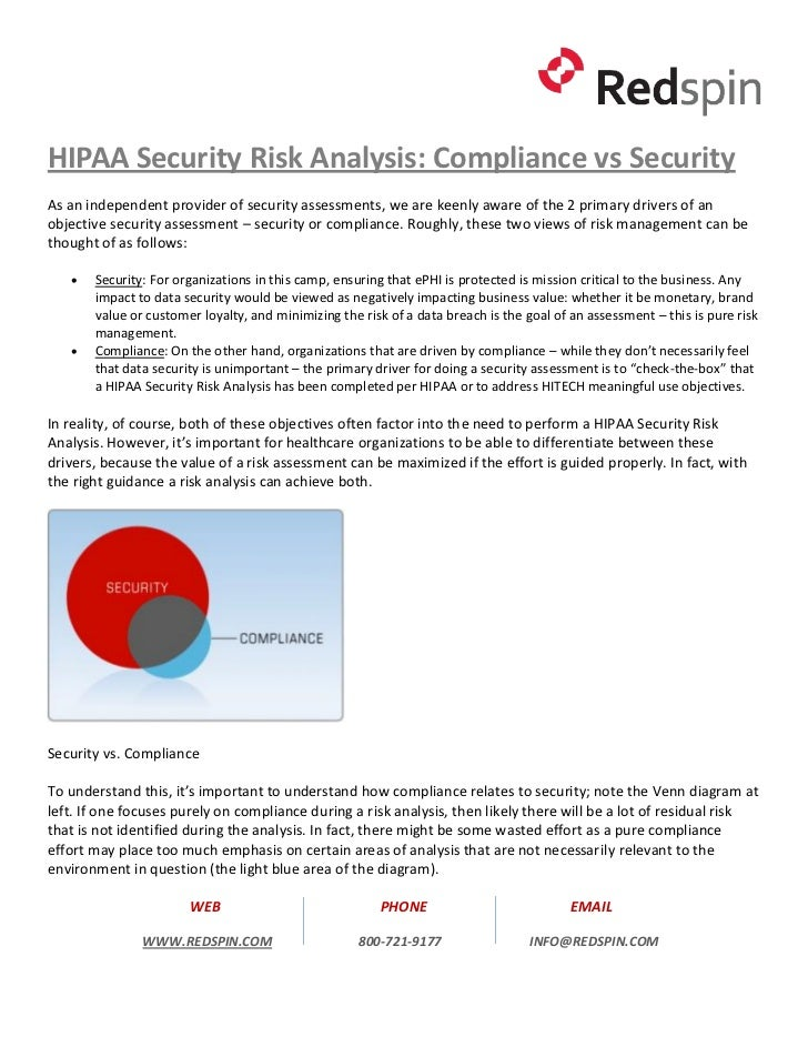 HIPAA Security Risk Analysis: Compliance vs SecurityAs an independent provider of security assessments, we are keenly awar...