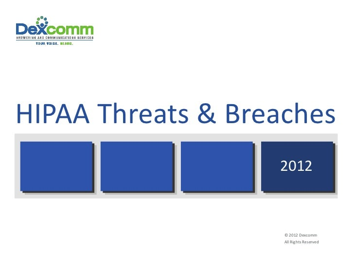 HIPAA Threats & Breaches                     2012                     © 2012 Dexcomm                     All Rights Reserv...