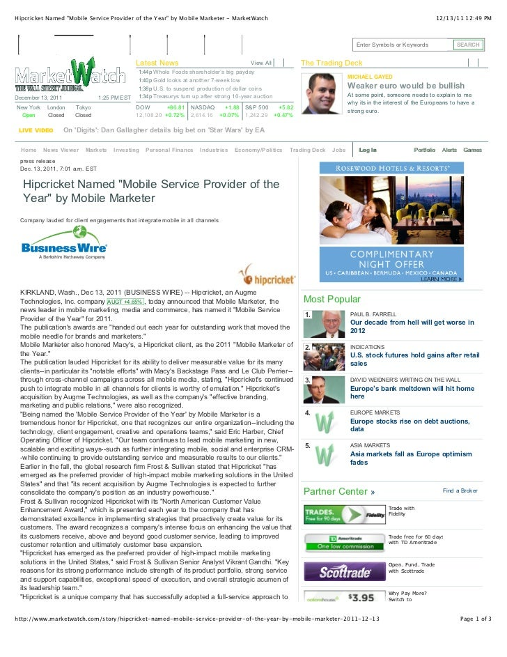 """Hipcricket Named """"Mobile Service Provider of the Year"""" by Mobile Marketer - MarketWatch                                   ..."""