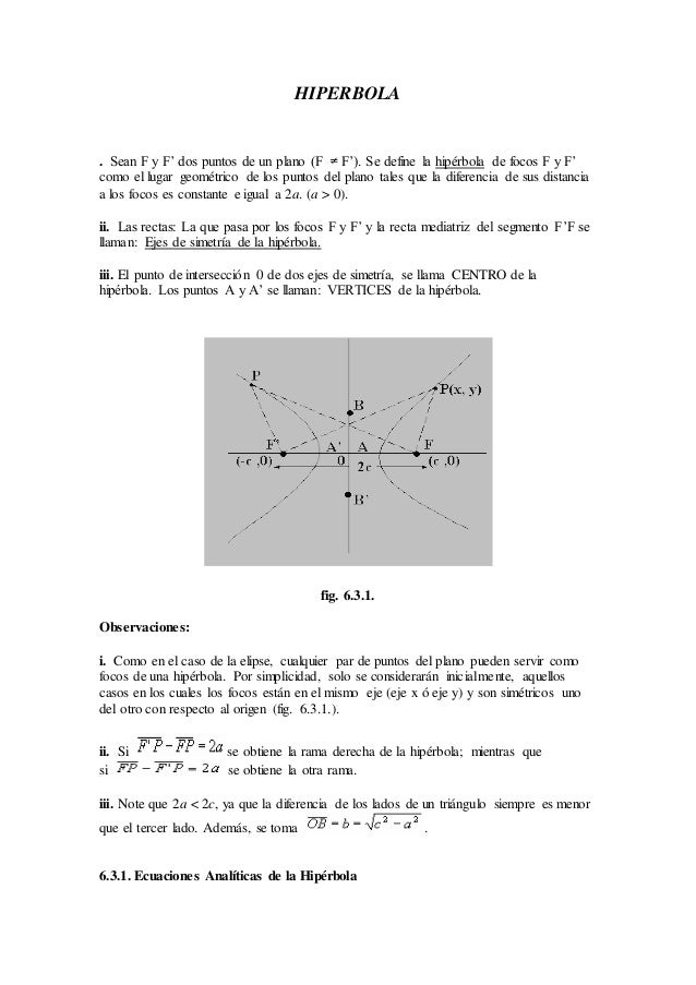 HIPERBOLA . Sean F y F' dos puntos de un plano (F F'). Se define la hipérbola de focos F y F' como el lugar geométrico de ...