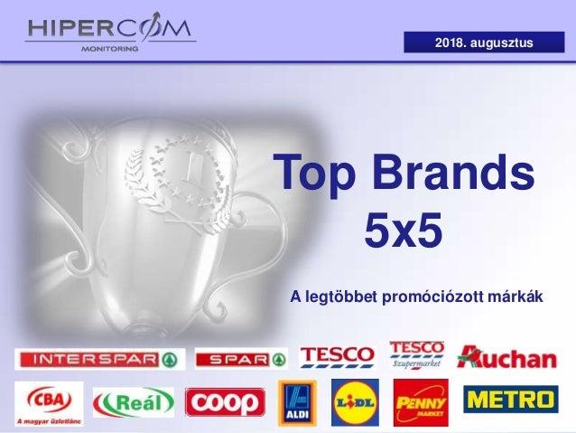 Top Brands 5x5 2018. augusztus A legtöbbet promóciózott márkák