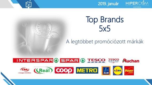 2019. január2019. január Top Brands 5x5 A legtöbbet promóciózott márkák
