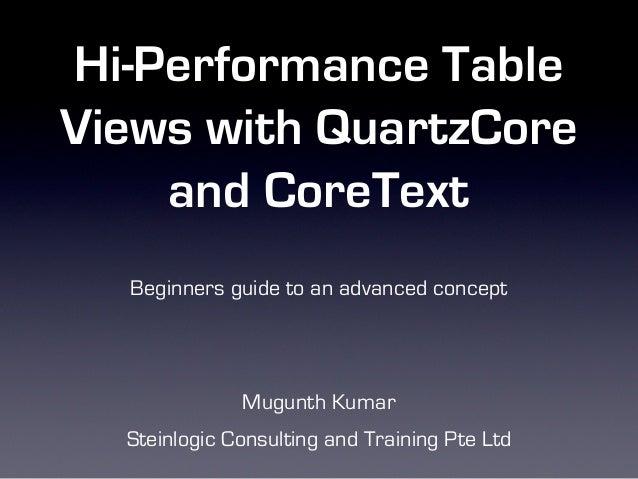 Hi performance table views with QuartzCore and CoreText