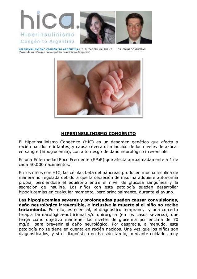 HIPERINSULINISMO CONGÉNITO ARGENTINA LIC. ELIZABETH MALAMENT (Papás de un niño que nació con Hiperinsulinismo Congénito)  ...