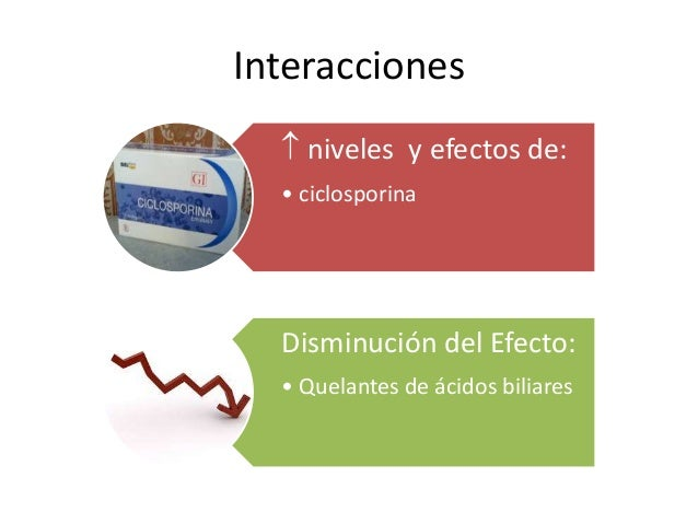 Interacciones  niveles y efectos de: • ciclosporina Disminución del Efecto: • Quelantes de ácidos biliares