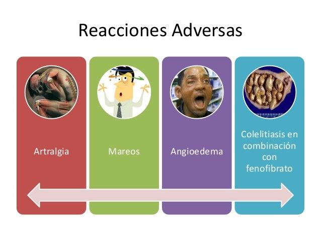 Reacciones Adversas Artralgia Mareos Angioedema Colelitiasis en combinación con fenofibrato