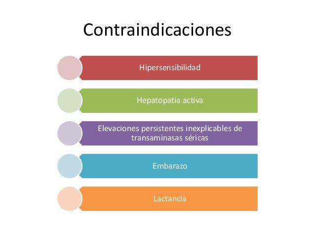 Contraindicaciones Hipersensibilidad Hepatopatía activa Elevaciones persistentes inexplicables de transaminasas séricas Em...