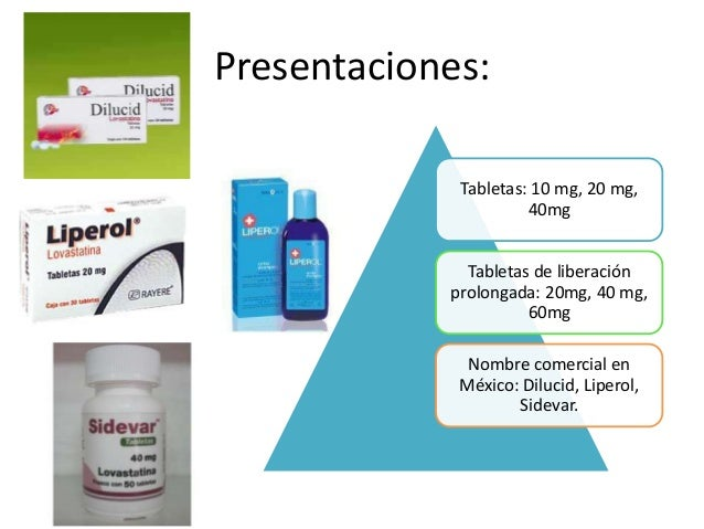 Presentaciones: Tabletas: 10 mg, 20 mg, 40mg Tabletas de liberación prolongada: 20mg, 40 mg, 60mg Nombre comercial en Méxi...