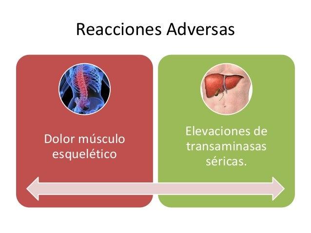 Reacciones Adversas Dolor músculo esquelético Elevaciones de transaminasas séricas.