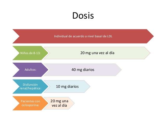 Dosis Individual de acuerdo a nivel basal de LDL Niños de 8-13: 20 mg una vez al día Adultos: 40 mg diarios Disfunción ren...