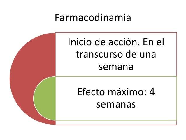 Farmacodinamia Inicio de acción. En el transcurso de una semana Efecto máximo: 4 semanas