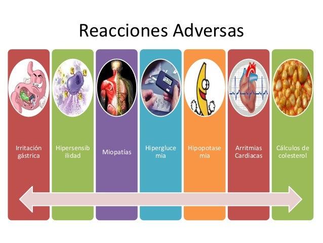 Reacciones Adversas Irritación gástrica Hipersensib ilidad Miopatías Hipergluce mia Hipopotase mia Arritmias Cardiacas Cál...