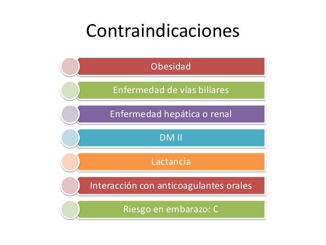 Contraindicaciones Obesidad Enfermedad de vías biliares Enfermedad hepática o renal DM II Lactancia Interacción con antico...