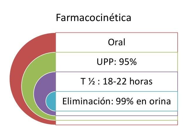 Farmacocinética Oral UPP: 95% T ½ : 18-22 horas Eliminación: 99% en orina