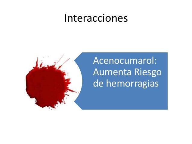 Interacciones Acenocumarol: Aumenta Riesgo de hemorragias
