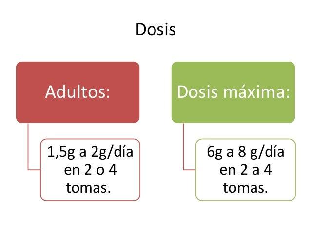 Dosis Adultos: 1,5g a 2g/día en 2 o 4 tomas. Dosis máxima: 6g a 8 g/día en 2 a 4 tomas.