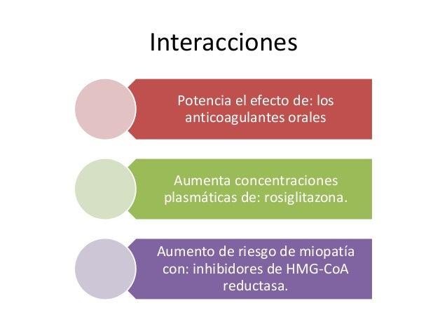Interacciones Potencia el efecto de: los anticoagulantes orales Aumenta concentraciones plasmáticas de: rosiglitazona. Aum...