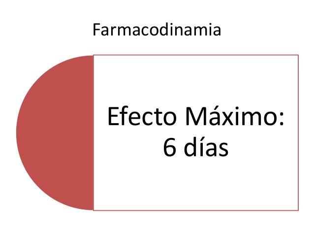 Farmacodinamia Efecto Máximo: 6 días