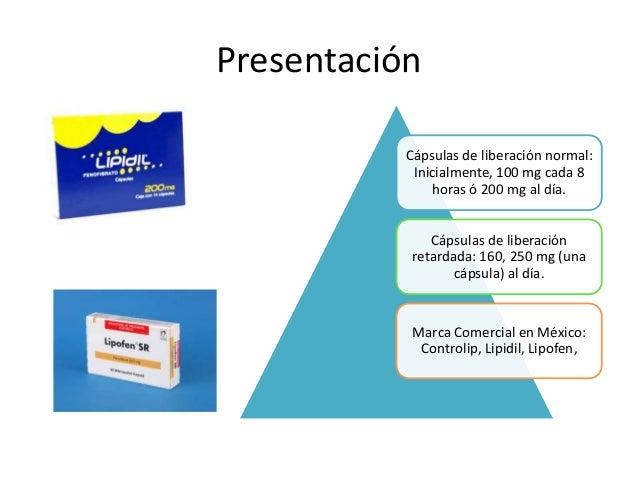 Presentación Cápsulas de liberación normal: Inicialmente, 100 mg cada 8 horas ó 200 mg al día. Cápsulas de liberación reta...